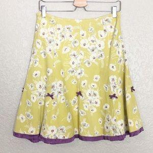 EUC Elevenses yellow floral ruffle trim cord skirt